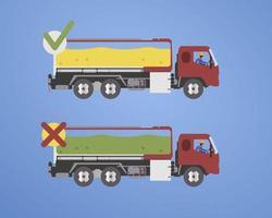infográficos de caminhão de óleo com conteúdo de óleo em conformidade com o padrão vetor