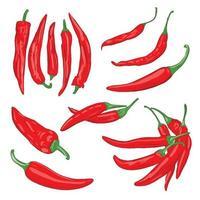 ilustração em vetor de vegetais vermelhos de pimenta caiena em um fundo branco isolado