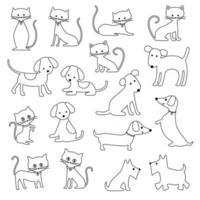 gatos e cães com contorno preto carimbos digitais vetor