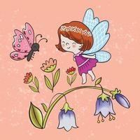 ilustração em vetor de uma menina abelhas e borboletas entre flores em um fundo laranja texturizado