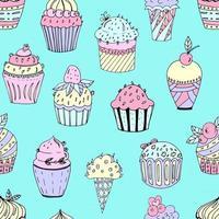 ilustração em vetor de um padrão uniforme de bolos de diferentes cores e formas