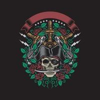 crânio de pirata morde uma adaga com rosas e armas vetor