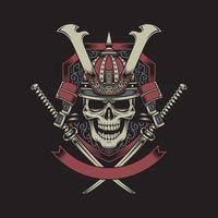 crânio de guerreiro samurai com espadas katana cruzadas vetor