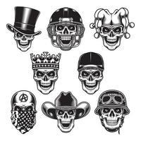 coleção de personagens de caveira em preto e branco vetor