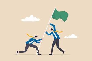 equipe realização desafio empresarial e vitória ou vencedor alcançando objetivo e conceito alvo empresários pessoas trabalho em equipe ou parceria ajudando a levantar a bandeira vencedora vetor