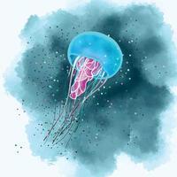 ilustração em vetor de uma água-viva do mar na água em estilo aquarela