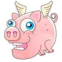 ilustração em vetor porco voador fofo desenho vetorial