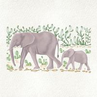 ilustração vetorial de elefantes entre folhas verdes em estilo aquarela vetor