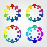 grupo gráfico que conecta pessoas conexão logotipo conjunto trabalho em equipe em um círculo de mãos dadas, pessoa de negócios se reunindo na mesma sala de energia vetor