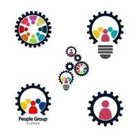 engrenagem trabalho em equipe reunião conceito gráfico grupo conectando pessoas conexão logotipo conjunto trabalho em equipe em um círculo de mãos dadas reunião de pessoa de negócios na mesma sala de energia vetor