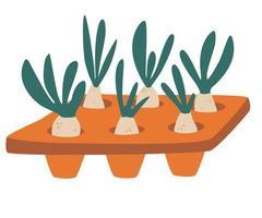 ilustração de mudas na bandeja com uma bandeja de mudas cheia de mudas de laranjal doméstico e conceito de cuidado ilustração vetorial de passatempo de jardinagem em estilo desenho animado vetor