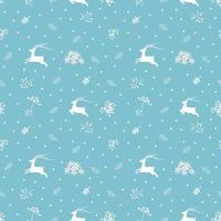padrão sem emenda de Natal com renas e galhos de pinheiro em fundo azul suave vetor