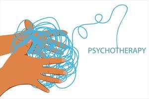 duas mãos seguram a bola emaranhada de pensamentos depressivos tristeza prolongada relacionamento crônico gênero problemas mentais vetor