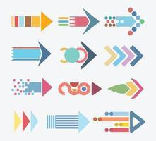 conjunto de ícones de setas coloridas abstratas vetor