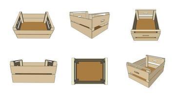 caixas de madeira vazias isoladas no branco vetor