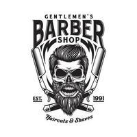 crânio de barbeiro barbudo vintage com navalhas cruzadas vetor