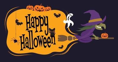 personagem de desenho animado bruxa voando em uma vassoura com uma grande tabuleta vetor