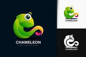 design do logotipo camaleão com gradiente vetor