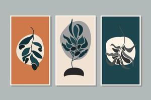 botânica folhagem planta folha parede arte vetorial conjunto folhagem linha arte desenho com forma abstrata desenho de arte de planta abstrata para imprimir capa papel de parede fundo mínimo e natural papel de parede vetor