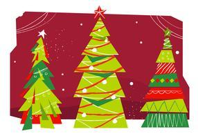 Meados de Século de Árvores de Natal vector Illustration