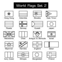 bandeiras do mundo conjunto 2 estilo simples e design plano contorno grosso preto e branco vetor