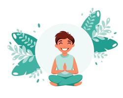 menino meditando em pose de lótus meditação para crianças vetor