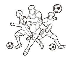 esboço de ação de jogadores de futebol vetor