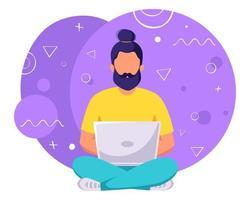 homem sentado com laptop freelance ou conceito de jogador vetor