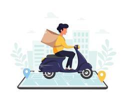 personagem de mensageiro andando de moto via smartphone com rastreamento online no fundo da cidade vetor