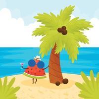 pôster de verão com uma linda personagem de melancia na praia vetor