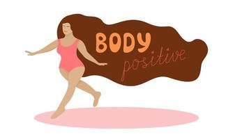 corpo conceito positivo plus size mulher em maiô está caminhando e sorrindo. vetor