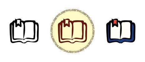 contorno de livro didático e cores e símbolos retrô com marcador vetor