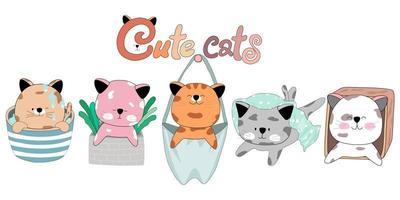 gato fofo personagem doodle estilo design clip-art vetor