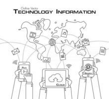 pessoa usa telefone e tablet para compartilhar estilo de contorno de dados vetor