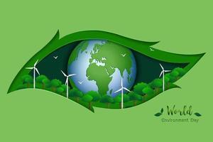 conceito de ecologia do dia do meio ambiente mundial com terra verde e energia no fundo de cena de arte de papel vetor