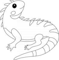 página de colorir para crianças iguana, excelente para livro de colorir para iniciantes vetor
