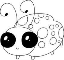 página para colorir de crianças joaninha excelente para livro de colorir iniciante vetor