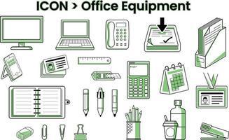 ícones de papelaria e equipamentos de escritório vetor