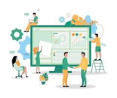 ilustração em vetor conceito plana equipe de desenvolvimento de sites