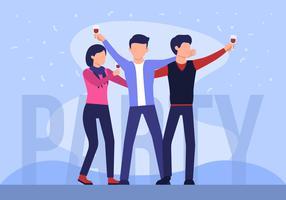 As pessoas dançam na festa vetor