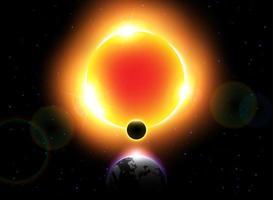 lua vetor eclipse solar mover-se ao redor do mundo e ocultar a luz do sol