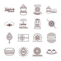 conjunto de ícones de celebração feliz raksha bandhan vetor