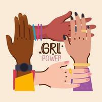 letras de poder feminino e mãos de diversidade vetor