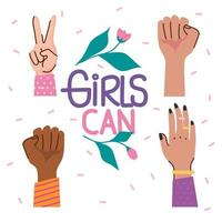 meninas podem letras com rosas e mãos de diversidade vetor
