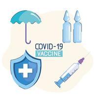 Letras da vacina covid19 com quatro ícones vetor
