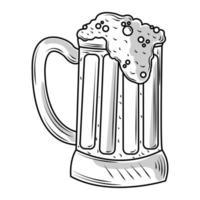 caneca com esboço de ícone de cerveja gelada isolado vetor
