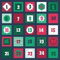 Coleção de etiquetas imprimíveis do calendário do advento do Natal