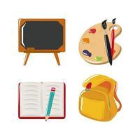 volta às aulas quadro-negro livro mochila pincel conjunto de ícones de cores vetor