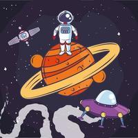 planeta astronauta espacial vetor