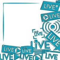 sinais azuis de transmissão ao vivo transmitindo vídeo online vetor
